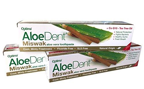 Optima Aloe (AloeDent Miswak Aloe Vera Toothpaste +COQ10 Tea Tree Oil 100ml (Pack of 3))