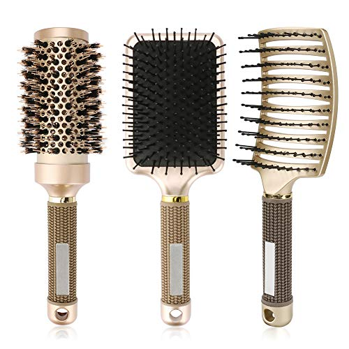 INTSUN 3Pcs Hair Brush Set - Boar Bristles Round Brush, Anti-static Paddle Brush, Vented Hair Brush for Blow Drying, Detangling, Smoothing Wet, Dry, Short, Long, Thick, Thin, Curly Hair on Men, Women