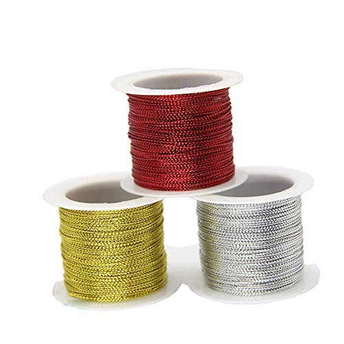 3 Rolls 196.8 Ft Tinsel String Craft Making Cord Non Stretch Jewelry Making Gift Wrap Ribbon Metallic Cord Packaging Rope (65.6 Ft per roll)