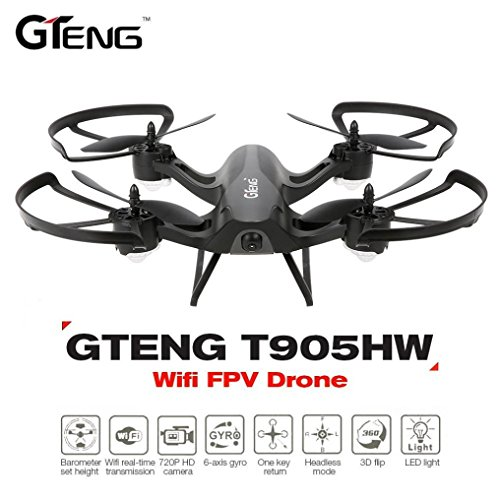 Leewa@ Gteng T905HW Wifi FPV 720P Camera 2.4G 6 Axis Gyro 3D Flip Headless Altitude Hold RC Quadcopter -Black by Leewa