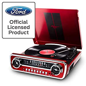 ION Audio – Mustang LP – Christmas Gift Essential – Vinyl Record Player / Turntable with Built In Speakers, Radio, USB playback and Aux input – Red