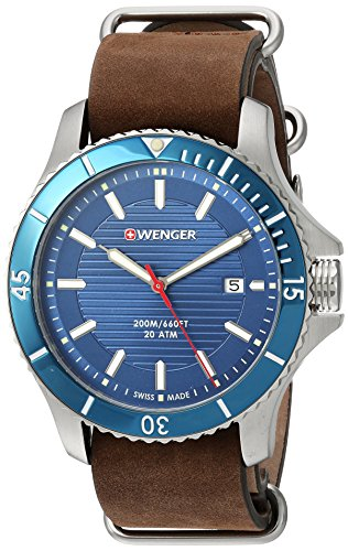 Wenger-Mens-Seaforce-Swiss-Quartz-Stainless-Steel-and-Leather-Casual-Watch-ColorBrown-Model-010641121