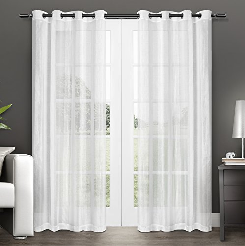 Home Linen Window Panel (Exclusive Home Curtains Penny Sheer Grommet Top Window Curtain Panel Pair, Winter White, 50x108)