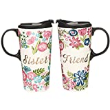 CEDAR HOME Travel Coffee Ceramic Mug Porcelain Latte Tea Cup With Lid in Gift Box 17oz. Sister & Friend, 2 Pack