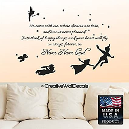 Awesome Vinyl Wall Decal Sticker Bedroom Peter Pan Never Land Kids Children Story  R1543