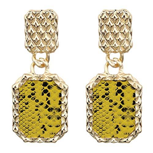 (TIFENNY Rock Punk Metal Retro Trend Sequins Snake Pattern Ladies Earrings Pendant jewelr Square Earring)