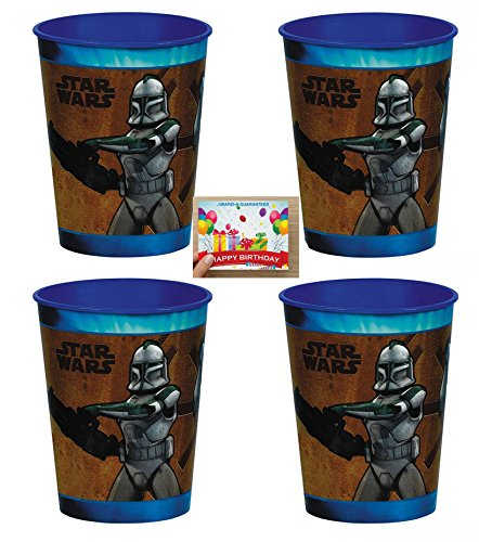 Star Wars Plastic Reusable Cups Pack of 4 ()