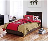 D-UNKN 4pc NFL San Francisco 49ers Comforter Twin Set, Football Themed, National Football League, Unisex, Team Logo, Red, Sports Patterned Bedding, Team Spirit, Fan Merchandise, Tan