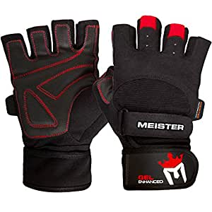 Meister Wrist Wrap Weight Lifting Gloves w/ Gel Padding - Black/Red - Small