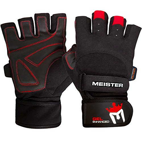 Meister Wrist Wrap Weight Lifting Gloves w/ Gel Padding - Black/Red - Medium
