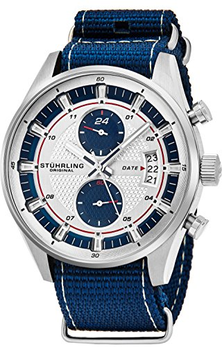 Stuhrling Original Men's Analog Watch – Stainless Steel True Dual Time Zone GMT W/Date Sports Watch – Comfortable, Durable NATO Nylon Strap – 845 Series (Blue/White) - Gmt Watch Stainless Steel Strap