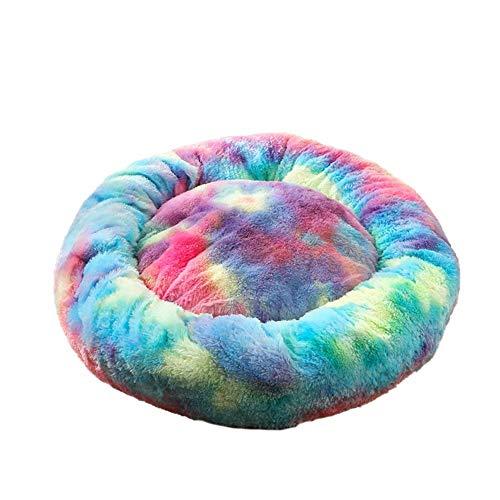 DaoRier Haustierbett Hundebett Katzenbett Winter Bunt Runde Plüsch-Bett für Klein Mittlere Hunde Katzen