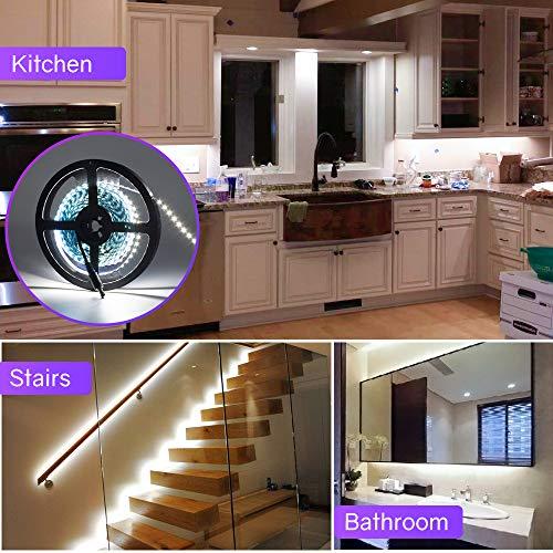 HitLights LED Strip Lights, UL-Listed Cool White LED Light Strip 16.4ft 600LED 5000K 2.7Watt per Ft. 12V DC LED Tape Lights for Kitchen, Under Cabinet and More Lighting Project