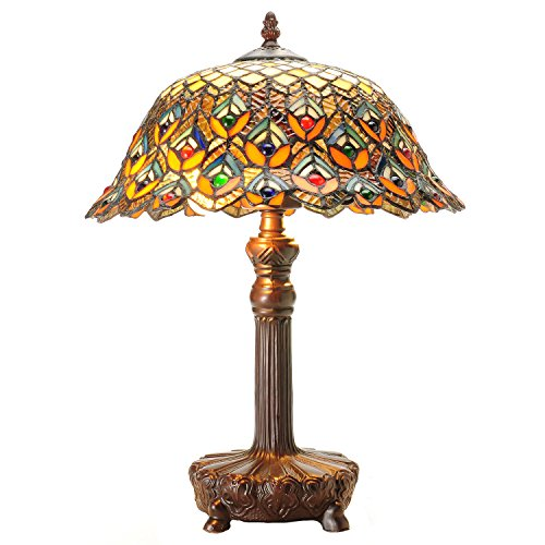 Warehouse of Tiffanys Tiffany-style Peacock Jewel Table Lamp