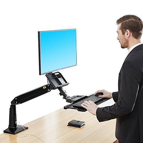 North Bayou Sit Stand Desk Height Adjustable Standing Desk Workstation for 22''-35'' Monitor Computer Riser Monitor and Keyboard Mounts (Black)