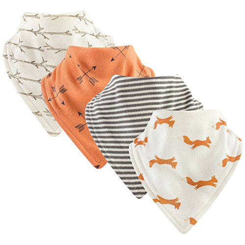 Touched by Nature Baby Organic Cotton Bandana Bibs, Fox 4Pk, 0-9 Months