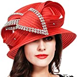 FORBUSITE Stripe Ribbon Asymmetry Church Derby Dress Hat S608 (S051-Red)