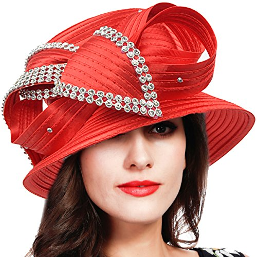 FORBUSITE Stripe Ribbon Asymmetry Church Derby Dress Hat S608 (S051-Red) by FORBUSITE