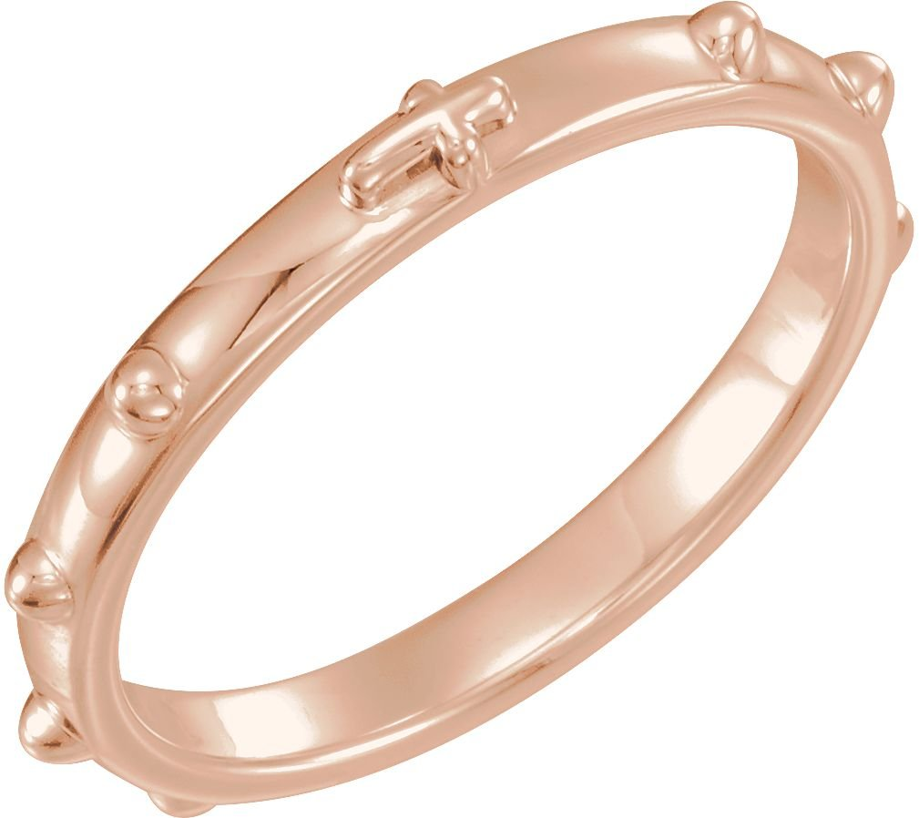 14k Rose Gold 2.50mm Rosary Ring, Size 5