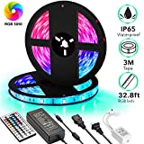 remote auto led lights - UPGRADED Dimmable LED Strip Lights Kit,32.8ft 300 LEDs SMD 5050 LED Tape Lights,2-Pack x 5M w/Extra Adhesive 3M Tape, 44 Key Remote Controller,Flexible Changing Multi-Color for Bar Home Decoration