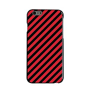 "Black Hard Plastic Snap-On Case for iPhone 6 (4.7"") - Black Red Diagonal Stripes Customized LO.O Case"