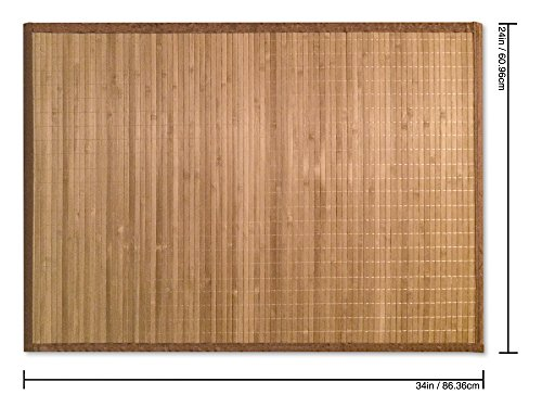 Sustainable Simplicity Bamboo Floor Mat, Natural, Brown Border, 24x34