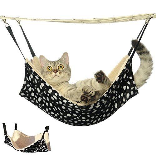(Doglemi Cat Pet Cage Hammock Warm Soft Cat Bed Cage Cat Pad Comfortable Cute Pet Bed Hammock Size L Polka dot)
