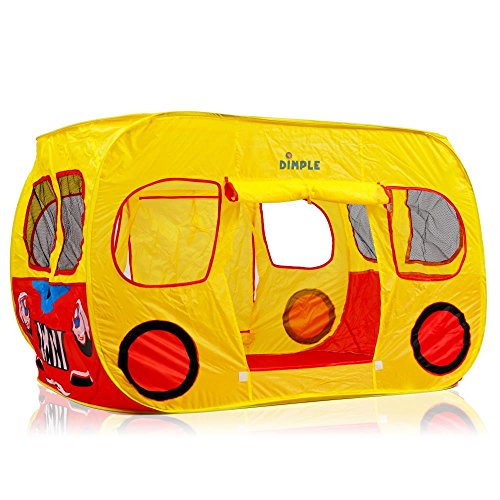 Dimple Children's Colorful Pop Up Play Tent in Yellow School Bus Design with Mesh Windows (Fold Up School Bus Tent)