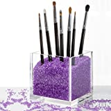 Bags Under Eyes Because of Glasses Acrylic Cosmetics Organizer & Makeup Brushes Holder with PURPLE Diamond Beads. Best for Mac, Sephora, Morphe, Real Techniques, Naked, Kardashian, Bestope, Elf, Bare Minerals, Sigma Brushes and more...