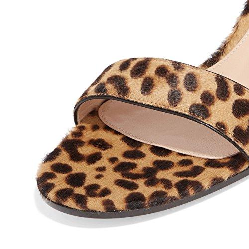 Fsj Sandali Open Toe Da Donna Con Tacco A Spillo Pumps Décolleté In Finta Pelle Scamosciata Taglia 4-15 Us Leopard