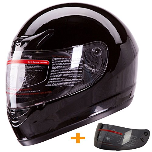 Gloss Black Full Face Motorcycle Helmet DOT +2 Visors Comes with Clear Shield and Free Smoked Shield (L)