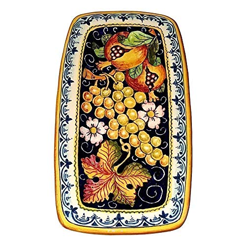 (CERAMICHE D'ARTE PARRINI - Italian Ceramic Art Tray Plate Pottery Hand Painted Decorated Fruit Made in ITALY Tuscan )