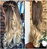 One Piece Half Head Ombre Clip in Hair Extensions Hairpieces 5clips(Medium brown to sandy blonde)