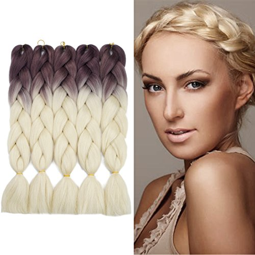 Crochet Braids Ombre Jumbo Braiding Hair Extensions Synthetic Yaki Straight 5 Pieces 2 Tone (Light Brown Blonde)