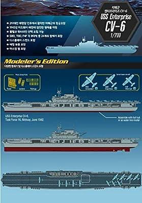 Academy USS Enterprise CV-6 Aircraft Carrier Battle of Midway Modeler's Edition Plastic Model Kits 1/700 Scale