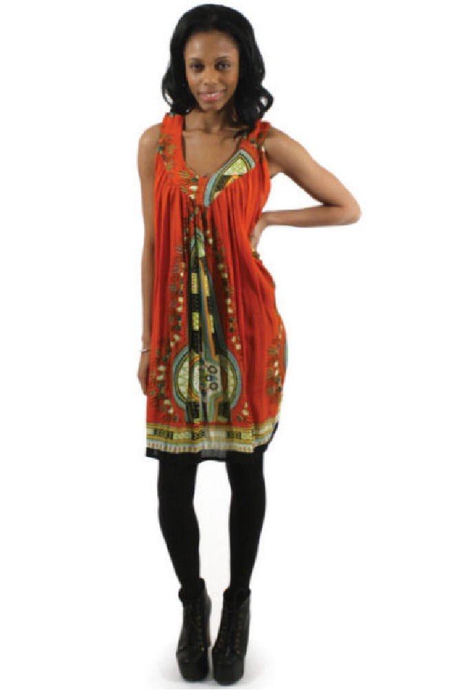 Short Traditional African Dashiki Print Rayon Sundress Sun Dress - Available in Many Colors (Orange)