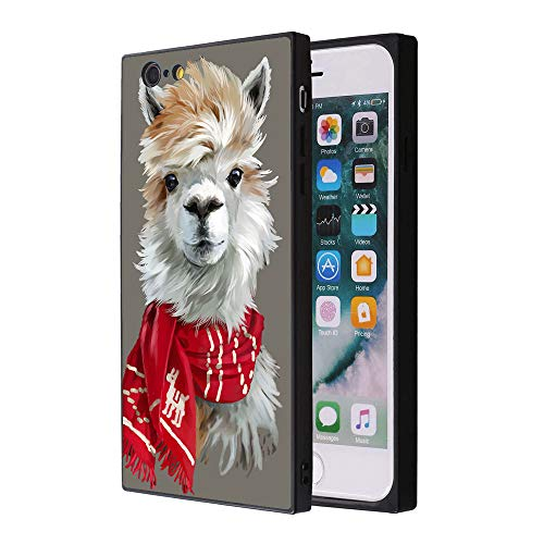 (iPhone 6s Plus 6 Plus Llama Wearing Scarf Case, Soft Flexible TPU Back Square Cover Rectangle Case Compatible with iPhone 6s Plus 6 Plus (Black Side))
