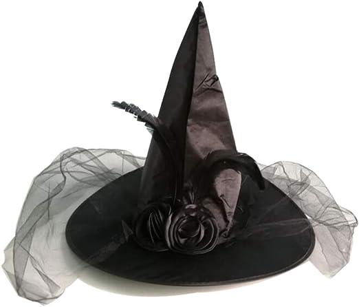 BESTOYARD Sombrero de Bruja con Velo y Pluma Negro para Disfraz de ...