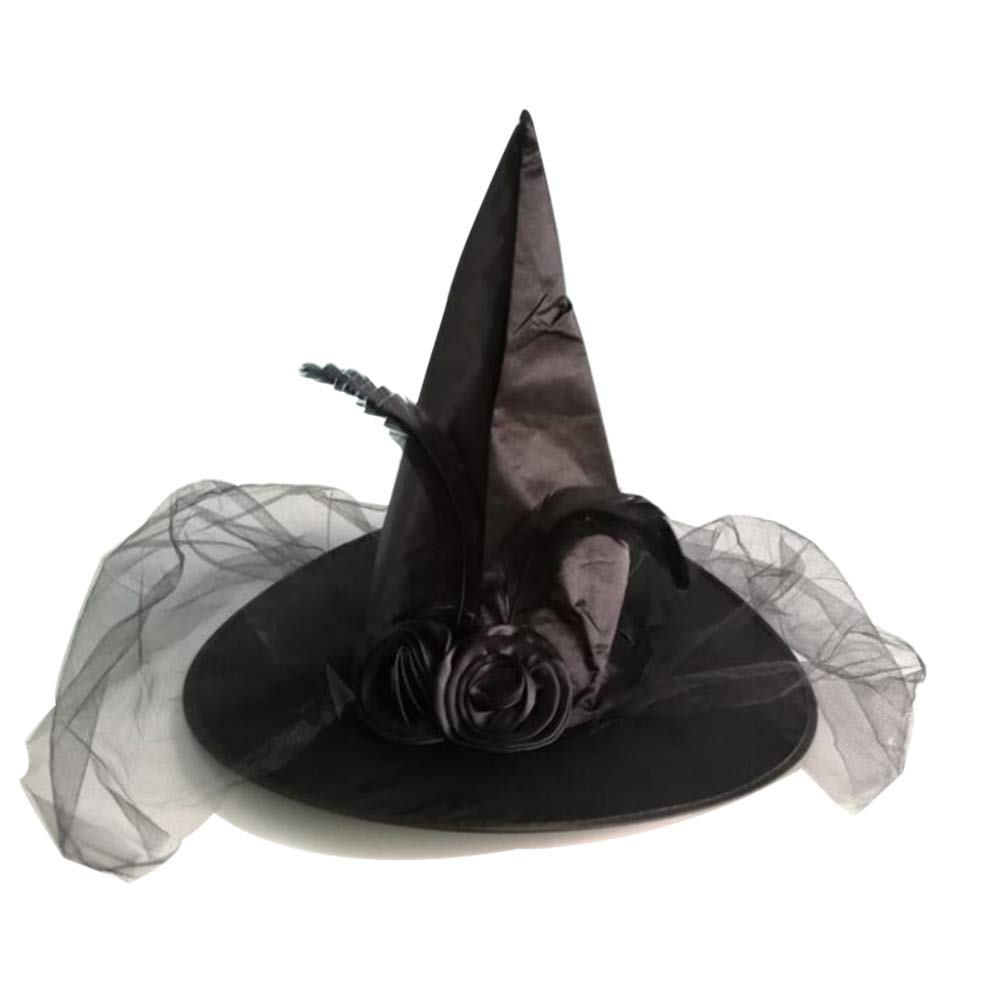 BESTOYARD Halloween Witch Hat Rose Mesh Masquerade Festival Party Costume (Black)