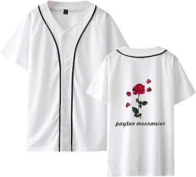 Payton Moormeier Camisa de Béisbol de Manga Corta con Botones Casual Béisbol Jersey T-Shirt Tops para Niños y Niñas: Amazon.es: Ropa y accesorios