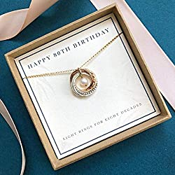 80th Birthday Necklace with Birthstone