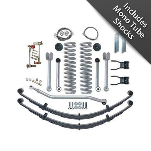 Rubicon Express RE6130M Super-Flex Suspension Lift Kit 4.5 in. Lift Incl. GEN II Disconnects/Coil Spgs/Bmp Stp/Rr Leaf Spgs/Fr/Rr Brk Line/UBolts/Shackle/Cntrl Arms/Use w/Monotube Shocks Super-Flex Suspension Lift - Cntrl Line
