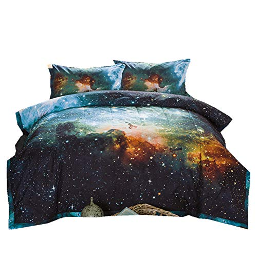 NTBED Galaxy Comforter Sets Full with 2 Matching Pillow Shams, Sky Oil Printing Outer Space Reversible Quilt Bed Set