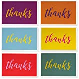 Thank You Cards - 48-Count Thank You Notes, Bulk Thank You Cards Set - Blank on the Inside, 6 Bright and Colorful Designs – Includes Matching Envelopes - Perfect for Kids and Teachers, 4 x 6 Inches