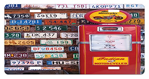 Americana License Plate by Lunarable, Various Old American License Plates Behind Antique gas Pump in Rural Utah, High Gloss Aluminum Novelty Plate, 5.88 L X 11.88 W Inches, Red Multicolor (Utah Antique)