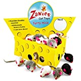 "Pet Edge Zanies Cheese Wedge Display Box with 60 Furry Mice Toys for Cats – Mouse Measures 3"" in Length Including Tail"