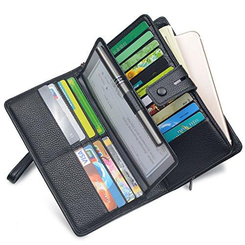 Women's Big Fat Rfid Blocking Leather Wristlets Wallet Clutch Organizer Checkbook Holder (Black)