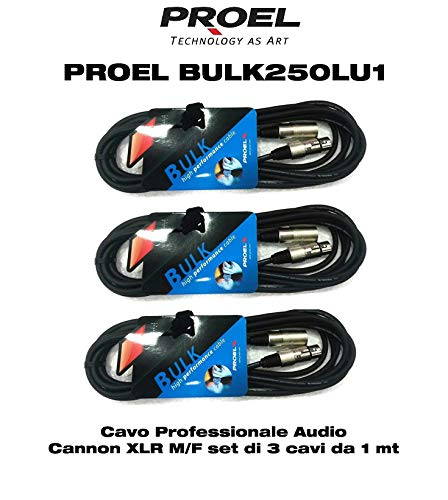 pacchetto convenienza 3 unit/à Proel BULK250LU1 cavo professionale bilanciato 3 poli xlr maschio//xlr femmina lunghezza 1 metro