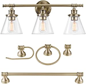 Globe Electric 51381 Parker 5-Piece All-In-One Bathroom Set, 3-Light Vanity, Bar, Towel Ring, Robe Hook, Toilet Paper, Antique Brass