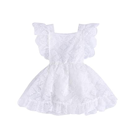 0d0680dfdd Amazon.com  Newborn Infant Toddler Baby Girls Lace Tutu Princess Dress  Cuekondy Summer Ruffle Romper Party Sundress for 3-18 Months (12M